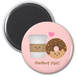 Aimant Café et beignet mignons dans l'amour, paire