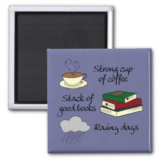 Aimant Café, les livres et la pluie - changez la couleur