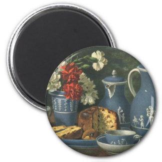Aimant Café vintage, gâteau, thé et fleurs d'après-midi