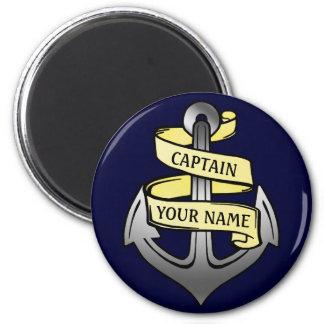 Aimant Capitaine de bateau personnalisable votre ancre