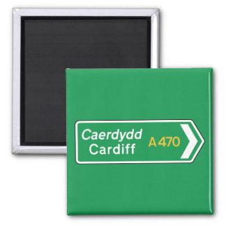 Aimant Cardiff, panneau routier BRITANNIQUE