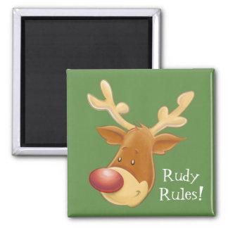 Aimant carré flairé rouge de règles de renne de