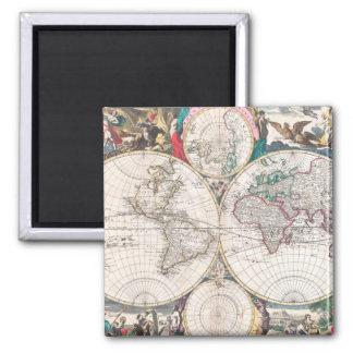 Aimant Carte antique du monde de Double-Hémisphère