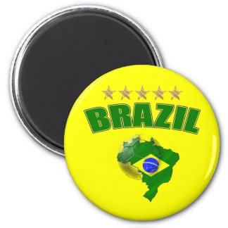 Aimant Carte de drapeau de Brésilien du Brésil de ballon
