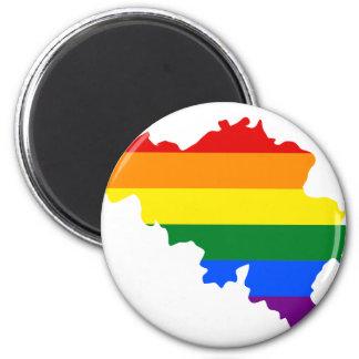 Aimant Carte de drapeau de la Belgique LGBT