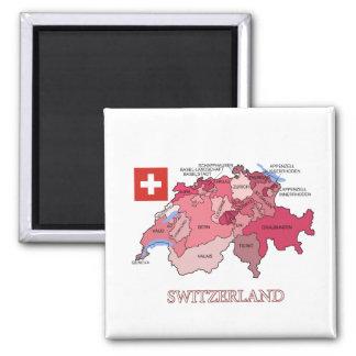 Aimant Carte et drapeau de la Suisse