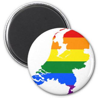 Aimant Carte néerlandaise de drapeau de LGBT