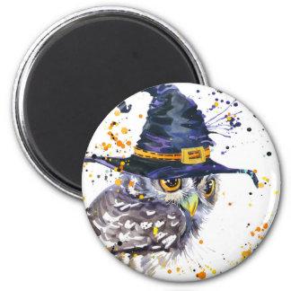 Aimant casquette de port de sorcières de hibou mignon
