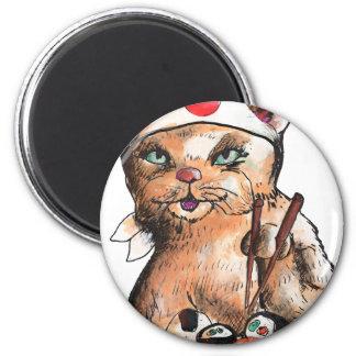 Aimant cat eating sushi