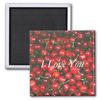 Aimant Cerise rouge - je t'aime (texte personnalisable)