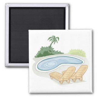 Aimant Chaises de plage par la piscine
