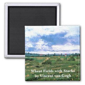 Aimant Champs de blé de Van Gogh avec des meules de foin,