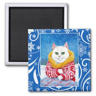 Aimant Chat blanc mignon, nature d'hiver de Noël