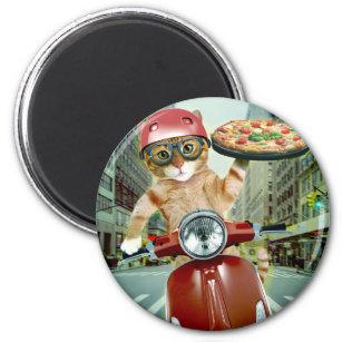 Aimant chat de pizza - chat - la livraison de pizza