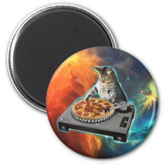 Aimant Chat DJ avec la table saine de jockey de disque