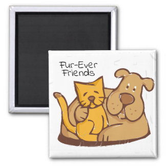 Aimant Chat et chien des amis   de Fourrure-Jamais