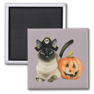 Aimant Chat siamois de Halloween avec la lanterne de Jack
