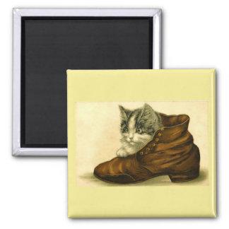 Aimant Chaton vintage dans l'aimant de chaussure