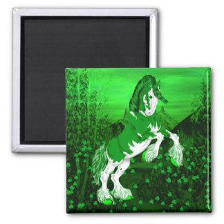 Aimant Cheval vert de Clydesdale d'imaginaire