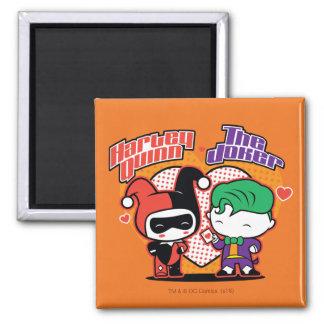 Aimant Chibi Harley Quinn et coeurs de joker de Chibi