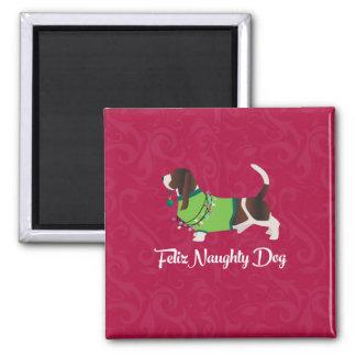 Aimant Chien vilain de Feliz de Noël de chien de