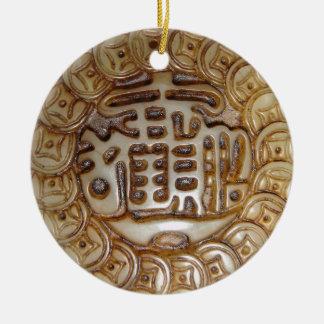 Aimant chinois antique d'argent ! ornement rond en céramique
