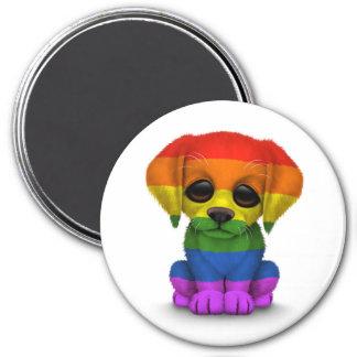 Aimant Chiot mignon de gay pride d'arc-en-ciel, blanc