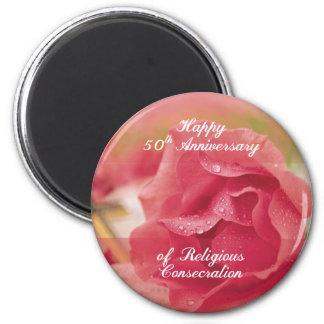 Aimant cinquantième Anniversaire de RO religieux de rose