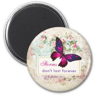 Aimant Citation inspirée avec le papillon sur le dos de