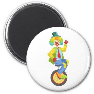 Aimant Clown amical coloré avec la perruque d'arc-en-ciel