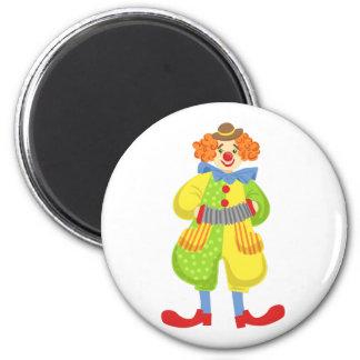 Aimant Clown amical coloré jouant l'accordéon dans la