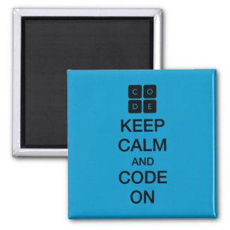 """Aimant Code.org """"gardent le calme et le code sur """""""