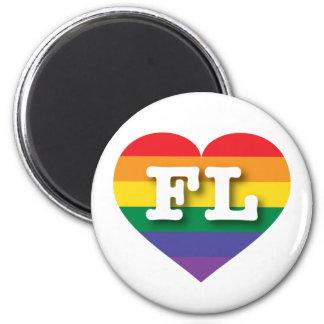 Aimant Coeur d'arc-en-ciel de gay pride de la Floride -