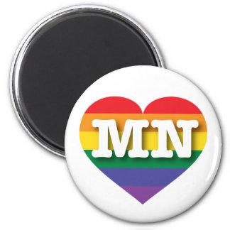 Aimant Coeur d'arc-en-ciel de gay pride du Minnesota -