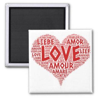 Aimant Coeur illustré avec le mot d'amour