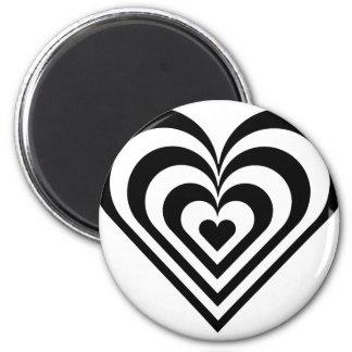 Aimant Coeur noir et blanc