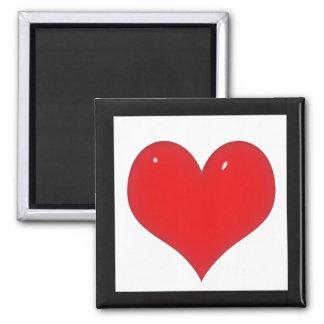 Aimant Coeur rouge brillant (ajoutez votre texte)