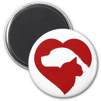 Aimant Coeur rouge de chat et de chien de délivrance