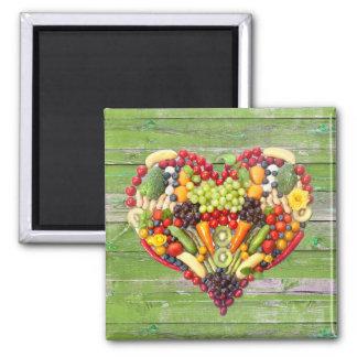 Aimant Coeur végétarien de végétalien d'amour
