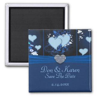 Aimant Coeurs romantiques dans la date florale bleue