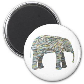 Aimant Collage de papier d'éléphant dans le gris, l'Aqua