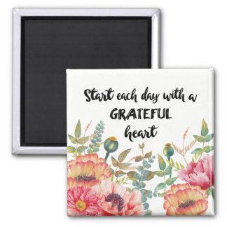 Aimant Commencez chaque jour avec un coeur reconnaissant