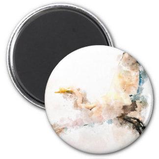 Aimant Conception d'aquarelle, vol d'oiseau de grue