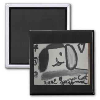 Aimant conception noire et blanche d'art d'amour de chiot