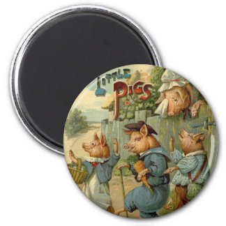 Aimant Conte de fées vintage, trois petits porcs