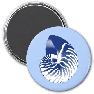 Aimant Coquille de Nautilus - marine, blanc et bleu-clair