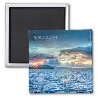 Aimant Coucher du soleil de Bora Bora à travers l'océan