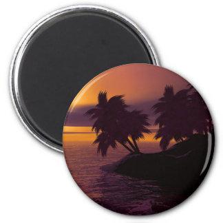 Aimant coucher du soleil de paumes de plage de vacances