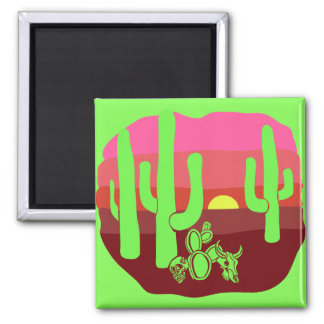 Aimant Coucher du soleil vert au néon de cactus de crânes