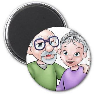 Aimant Couples de personnes âgées de bande dessinée